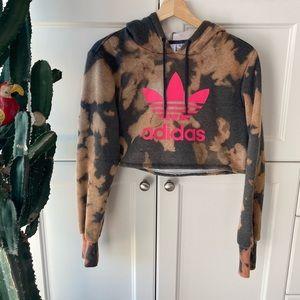 Adidas tie dye cropped hoodie